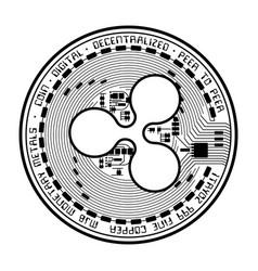 Ripple coin black silhouette vector