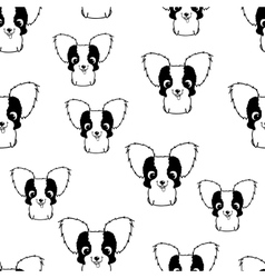 Seamless pattern with papillon puppies Black and vector