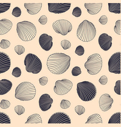 seamless shell pattern hand drawn seashells in vector image