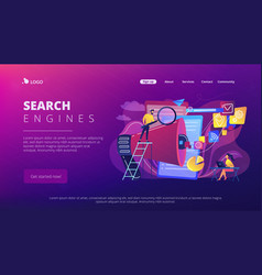 Search engines optimization concept landing page vector