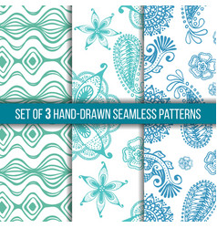 set of 3 hand-drawn seamless patterns vector image