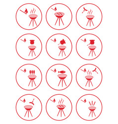 set of barbecue icons vector image