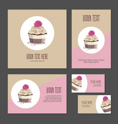 Set of corporate branding cake in packing vector