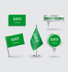 Set of Saudi Arabian pin icon and map pointer vector image