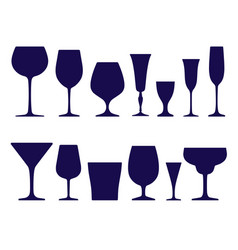 set wineglasses and glasses icons dark blue vector image