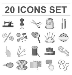 Sewing atelier monochrome icons in set collection vector