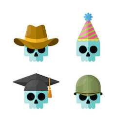 skulls wearing hats flat icon set vector image