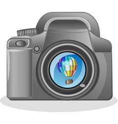 Slr camera on a white background with the vector