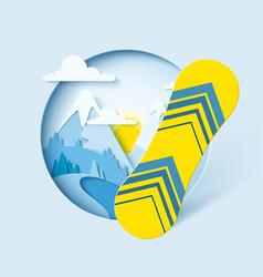 Snowboarding paper cut banner vector