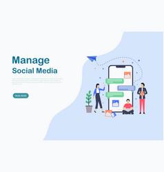 social media landing page design templates vector image