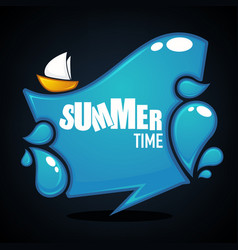 Summer time glossy and shine cartoon banner vector