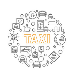 taxi concept round in thin vector image