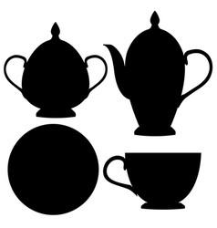 tea set black flat icons vector image