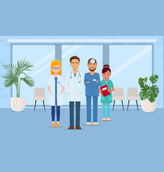 team of smiling doctors and nurses in hospital vector image