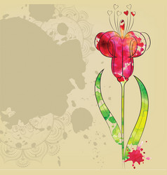 the outline of the flower vector image
