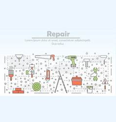 thin line art repair poster banner template vector image