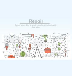 thin line art repair poster banner template vector image