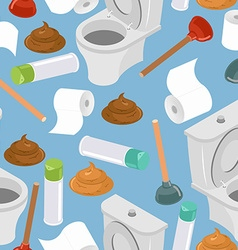 Toilet seamless pattern Toilet and plunger Shit vector