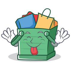 Tongue out shopping basket character cartoon vector