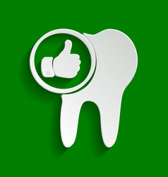 Tooth sign with thumbs up symbol paper vector