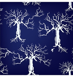 Trees silhoette seamless pattern on blue vector image