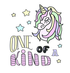 Unicorn head and one of a kind lettering on the vector