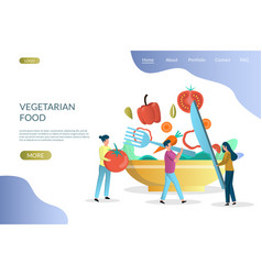 vegetarian food website landing page design vector image