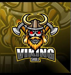 viking head esport mascot logo vector image