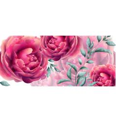Wedding invitation rose flowers watercolor banner vector