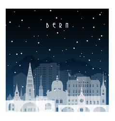 winter night in bern night city in flat style vector image