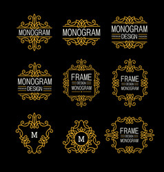wonderful set style art nouveau elegant line art vector image