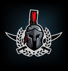 wreath swords and helmet spartan warrior vector image