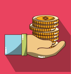 Businessman hand with coins to financial economy vector
