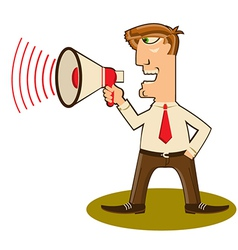 Businessman with loudspeaker vector image
