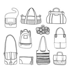 fashionable handbags black and white vector image