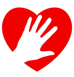 Hand and heart vector image