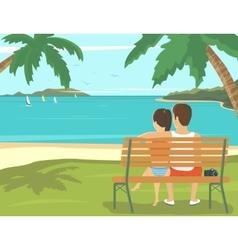 Honeymoon couple outdoors in the beach vector image
