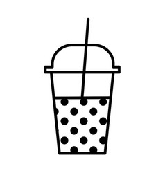milkshake outline icon vector image vector image