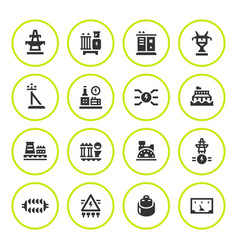 set round icons of power industry vector image