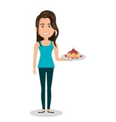 woman cartoon holding dessert cake isolated vector image