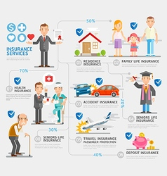 Business insurance character and icons template vector image vector image