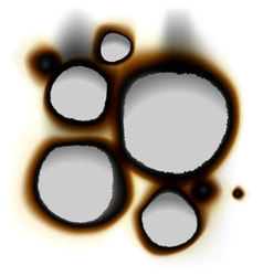 Collection of burnt holes in white paper vector image