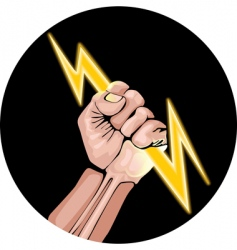 lightning in the hand vector image vector image