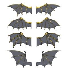 Set of dragon or bat wings vector image