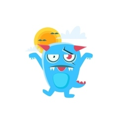 Zombie blue monster with horns and spiky tail vector
