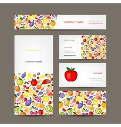 Business cards design fruit background vector image vector image