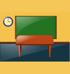 classroom with blackboard and table vector image