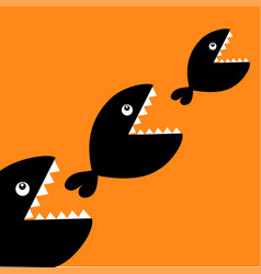Fish monster eating each other three fishes food vector