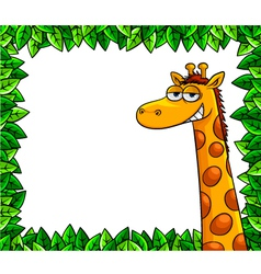 giraffe in the woods vector image vector image