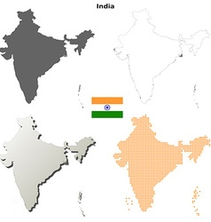 India outline map set vector image